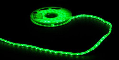 Profesjonalna taśma LED, 60diod 3528/metr, 4.8W/m, barwa zielona, zasilanie 12Vdc, W żelu
